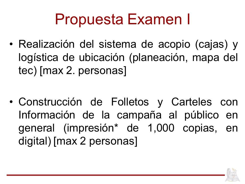 Propuesta Examen I Realización del sistema de acopio (cajas) y logística de ubicación (planeación, mapa del tec) [max 2. personas]